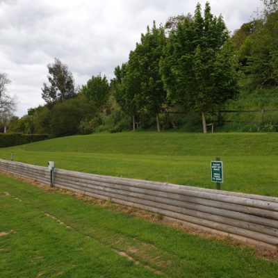 The bank at the back of the field